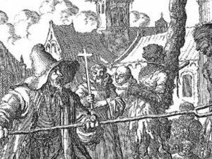 Dee Märtyrerspiegel (kaun maun em Internet downloade) haft eenen grooten Deel vonne Schauntate dokumentiet. Hia sitt man, woo dee katholischa Pater dee Hanrechtung sejnt. ©Märtyrerspiegel.
